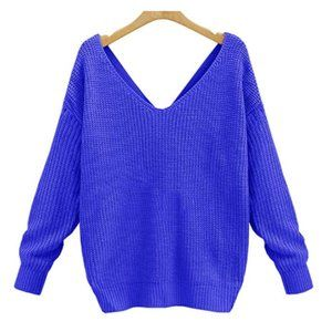 Women's Casual V Neck Criss Cross Backless Sweater